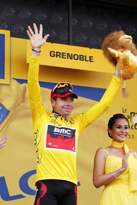 23 July 2011 98th Tour de France Stage 20 : Grenoble - Grenoble ITT EVANS Cadel (AUS) BMC, Maillot Jaune Photo : Yuzuru SUNADA